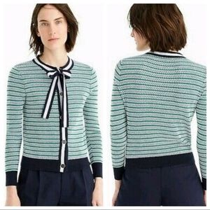 NWT J.Crew Textured Lady Bow Neck Cardigan Sweater